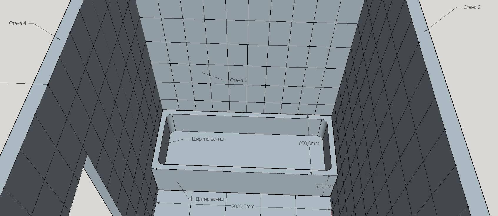Расчет количества плитки в ванную комнату